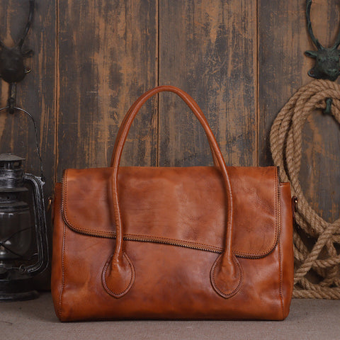 ROCKCOW Women's Vintage Genuine Leather Tote Shoulder Bag Satchel Bag Messenger Bag 9001