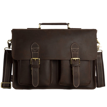Handcrafted Top Grain Genuine Leather Laptop Briefcase Business Handbag Men Messenger Bag 0344 - ROCKCOWLEATHERSTUDIO