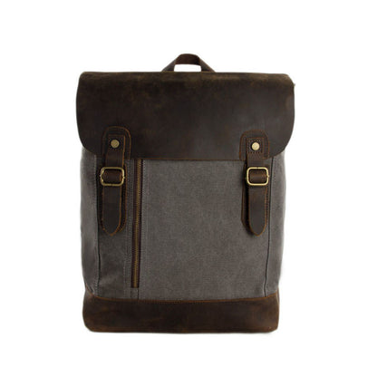 Canvas Leather Backpack Casual Backpack Canvas Leather Shoulder Bag 6659 - ROCKCOWLEATHERSTUDIO