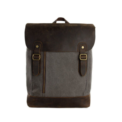 Canvas Leather Backpack Casual Backpack Canvas Leather Shoulder Bag 6659