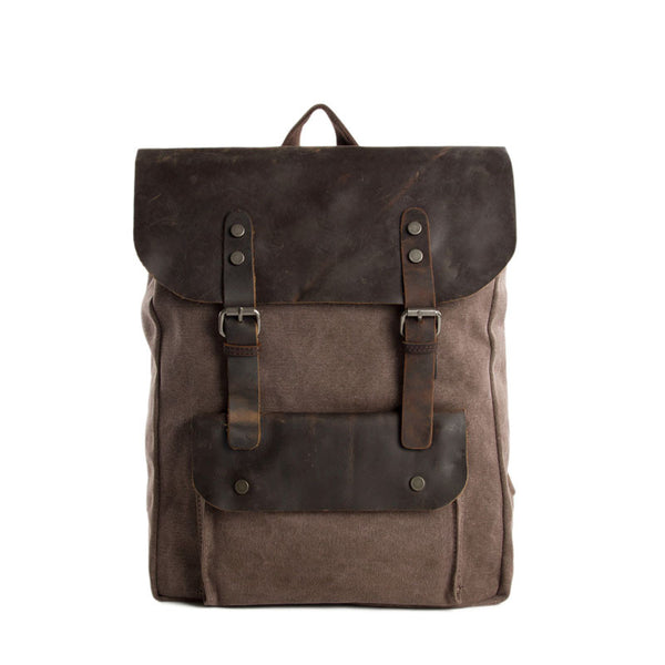 Canvas Leather Backpack Casual Backpack Rucksack School Backpack 6876A - ROCKCOWLEATHERSTUDIO
