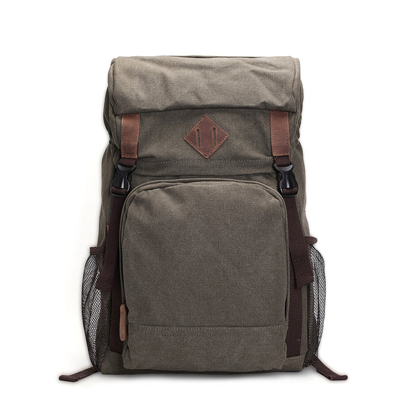 ROCKCOW Waxed Canvas Backpack, Rucksack, Hiking Travel Backpack AF16 - ROCKCOWLEATHERSTUDIO
