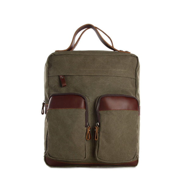 "Vintage Canvas Backpack - Genuine Leather Shoulder Bag - Fit 14"" Laptop 12029 - ROCKCOWLEATHERSTUDIO"