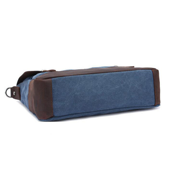 ... ROCKCOW Vintage Style Canvas Leather ringed Over-flap Briefcase  Messenger Bag with Brass Accents 6896 ... 22a366e509