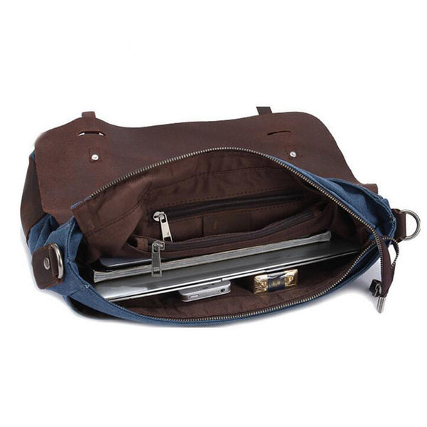 3c06ee75fe084 ROCKCOW Vintage Style Canvas Leather ringed Over-flap Briefcase Messenger  Bag with Brass Accents 6896 ...