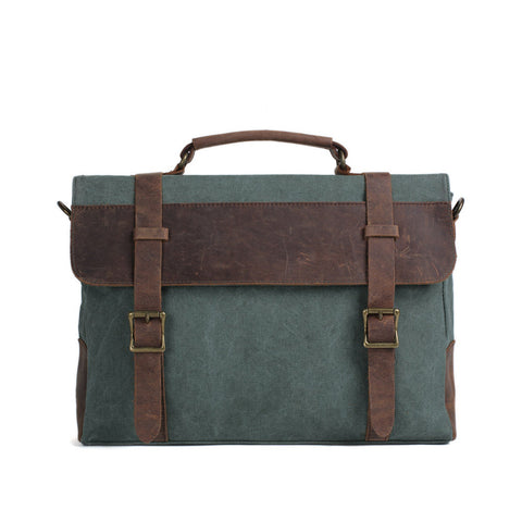 Handmade Canvas Leather Briefcase, Messenger Laptop Bag Satchel Bag 1870