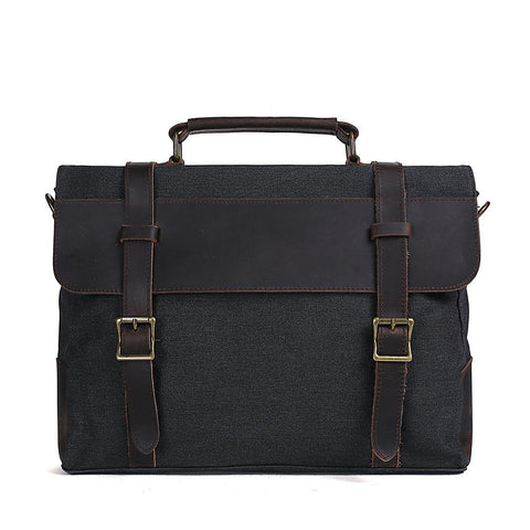 High Fashion Canvas Leather Briefcase, Messenger Bag Canvas Shoulder Bag 1870