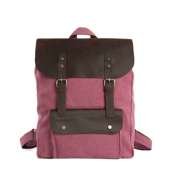 Handmade Canvas Leather Backpack Casual Backpack Rucksack Travel Backpack 6876A - ROCKCOWLEATHERSTUDIO