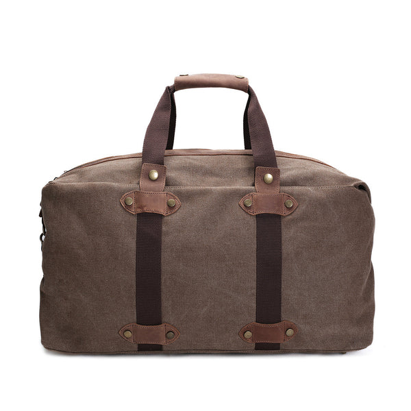 ROCKCOW Waxed Canvas Duffle Bag, Travel Bag, Holdall Luggage, Overnight Bag AF15 - ROCKCOWLEATHERSTUDIO
