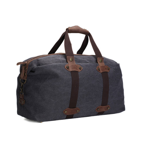 ROCKCOW Waxed Canvas Travel Duffle Bag, Holdall Luggage, Overnight Bag AF15 - ROCKCOWLEATHERSTUDIO