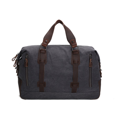 Oversized Canvas Leather Trim Travel Tote Duffel shoulder handbag Weekend Bag AF11 - ROCKCOWLEATHERSTUDIO