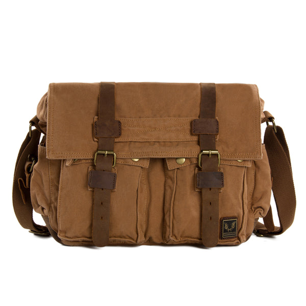 Flash Sale Canvas Messenger Bag Crossbody Bag Shoulder Bag Laptop Bag 2138K - ROCKCOWLEATHERSTUDIO