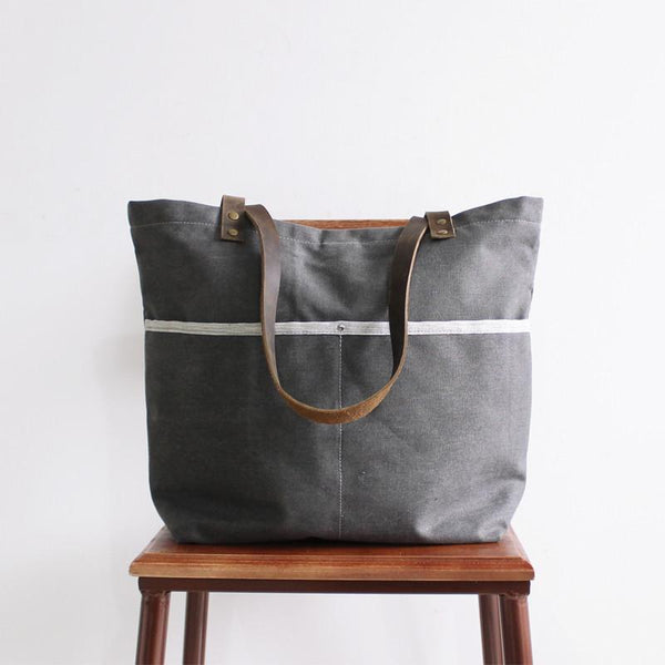 Handmade Canvas Tote Bag, Shoulder Bag With Leather, School Bag 14043 - ROCKCOWLEATHERSTUDIO