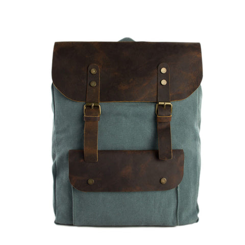 15 Inch Canvas Leather Backpack Casual Backpack Rucksack School Backpack 6876A - ROCKCOWLEATHERSTUDIO