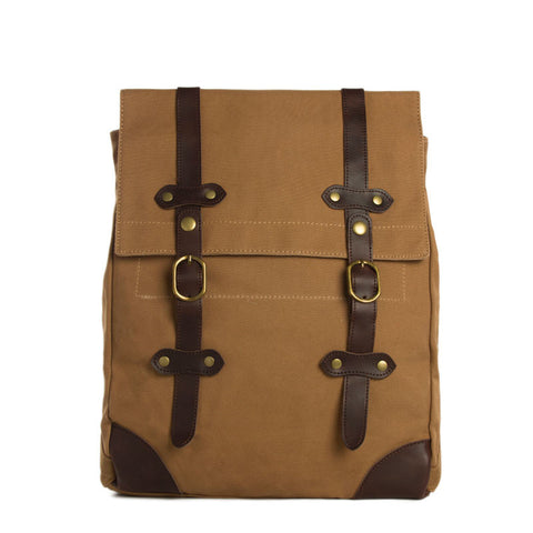 Vintage Canvas Leather Hiking Travel Backpack Tote Bag Fit 15 Inch Laptop TB310 - ROCKCOWLEATHERSTUDIO
