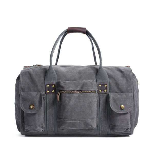 ROCKCOW Waxed Canvas Duffle Bag, Weekend Bag, Overnight Bag Holdall FB07 - ROCKCOWLEATHERSTUDIO