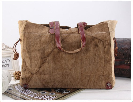 Fashion Vintage Canvas Leather Tote Bag, Men Handbag, Casual Daily Bag 80564 - ROCKCOWLEATHERSTUDIO