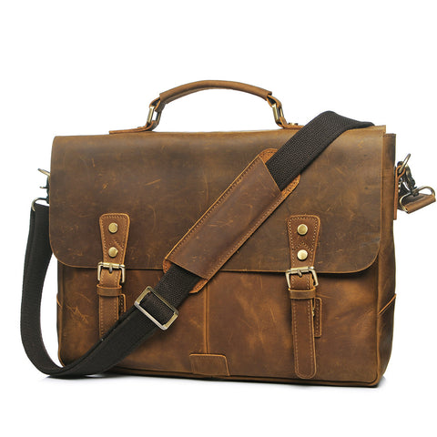 ROCKCOW Vintage Style Genuine Leather Messenger Bag Leather Briefcase Bag Crossbody Bag YD8048