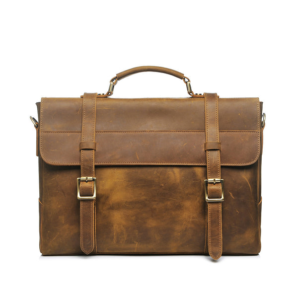 ROCKCOW 15 Inch Retro Buffalo Hunter Leather Laptop Messenger Bag Office Briefcase PL371 - ROCKCOWLEATHERSTUDIO