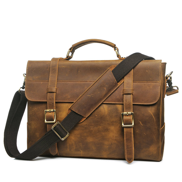Fashion Men Leather Briefcase Laptop Bag Messenger Bag PL371 - ROCKCOWLEATHERSTUDIO