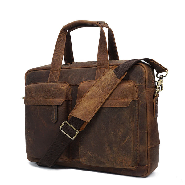 ROCKCOW Top Grade Handmade Mens Leather Briefcase Vintage Style Messenger Shoulder Bag YD8046