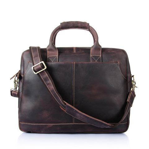 ROCKCOW Vintage Men's Genuine Leather briefcase Business Cowhide Briefcase Messenger Bag YD8013