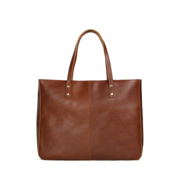 ROCKCOW Vintage Brown Genuine Leather Women Tote Bag, Leather Shoulder Bag, Shopping Bag YD8050