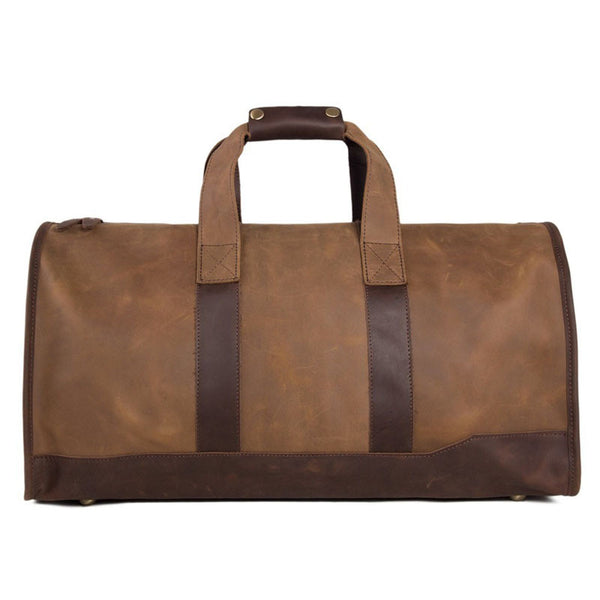 Super Large Leater Overnight Bag Duffle Bag Laptop Weekend Bag Men's Travel Bag DZ03 - ROCKCOWLEATHERSTUDIO