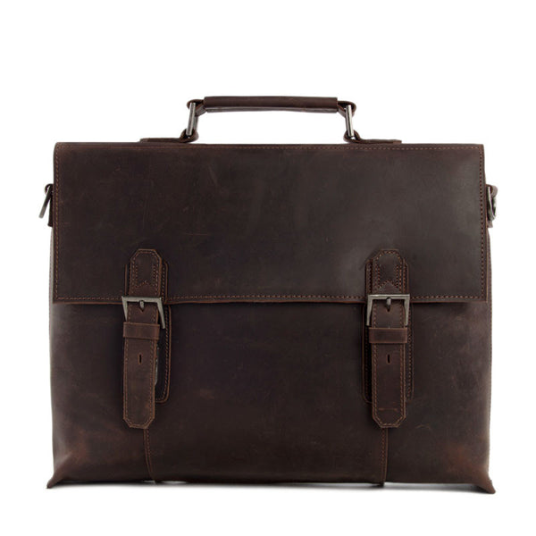 Genuine Leather Briefcase Messenger Shoulder Bag 15'' Laptop Bag Macbook Bag Men's Handbag 7035A - ROCKCOWLEATHERSTUDIO