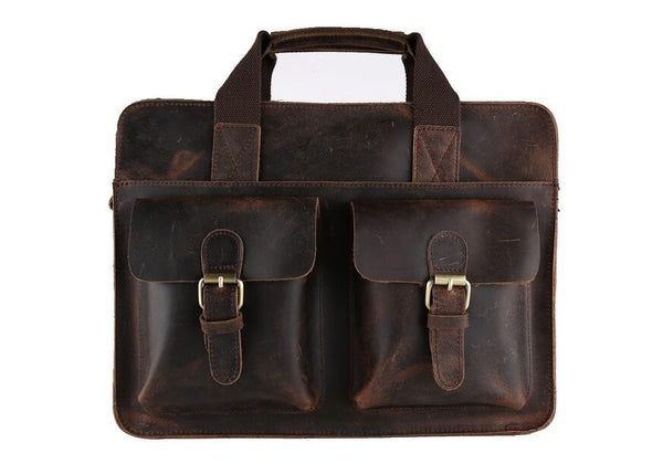 "ROCKCOW Vintage Leather Laptop Bag 13"" Messenger Handmade Briefcase Crossbody Shoulder Bag 6132 - ROCKCOWLEATHERSTUDIO"
