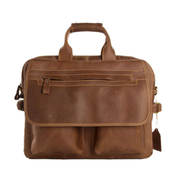 Men Leather Briefcase Travel Bag Leather Laptop with Shoulder Strap 8951 - ROCKCOWLEATHERSTUDIO