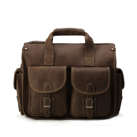 ROCKCOW Crazy Horse Leather Briefcases Laptop Bags For Men's Double Handbag 7106 - ROCKCOWLEATHERSTUDIO