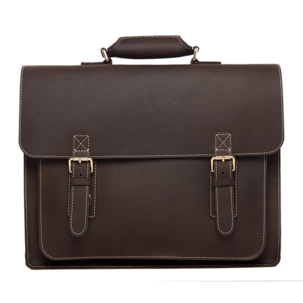 Handcrafted 18'' Large Leather Briefcase, Laptop Shoulder Bag, Men's Handbag 7205-L - ROCKCOWLEATHERSTUDIO