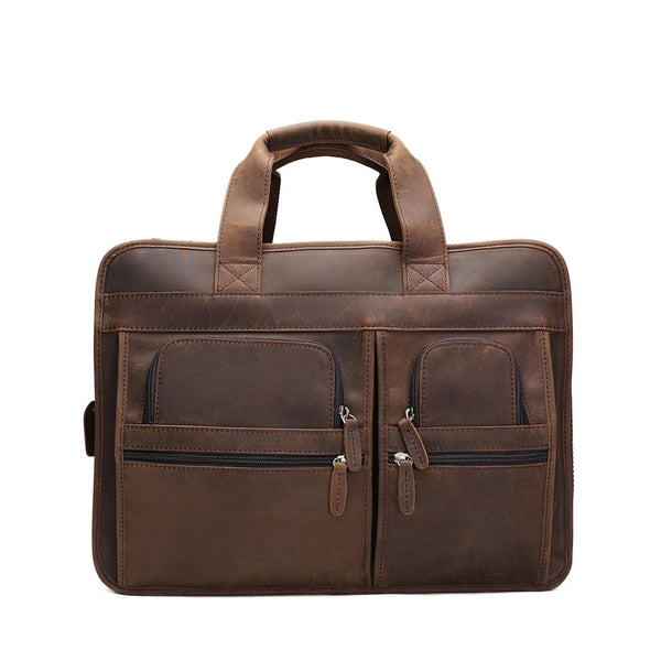 ROCKCOW Handmade Genuine Leather Laptop Briefcase Messenger Bag DZ11 - ROCKCOWLEATHERSTUDIO