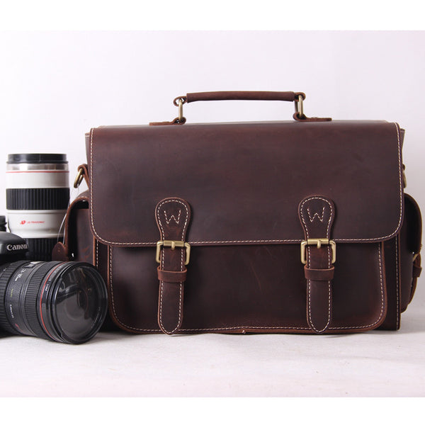 Vintage Genuine Leather DSLR Camera Bag SLR Camera Bag Briefcase Leather Camera Bag 6919 - ROCKCOWLEATHERSTUDIO