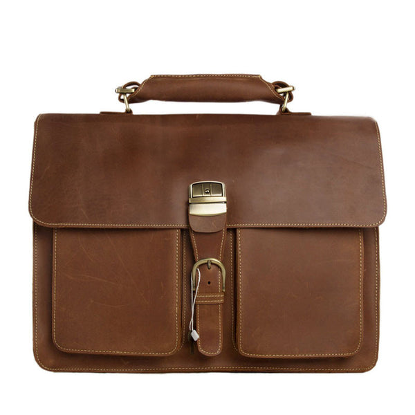 Italian Full Grain Vintage Brown Leather Briefcase Leather Handbag Men Messenger Bag Laptop Bag 1031 - ROCKCOWLEATHERSTUDIO