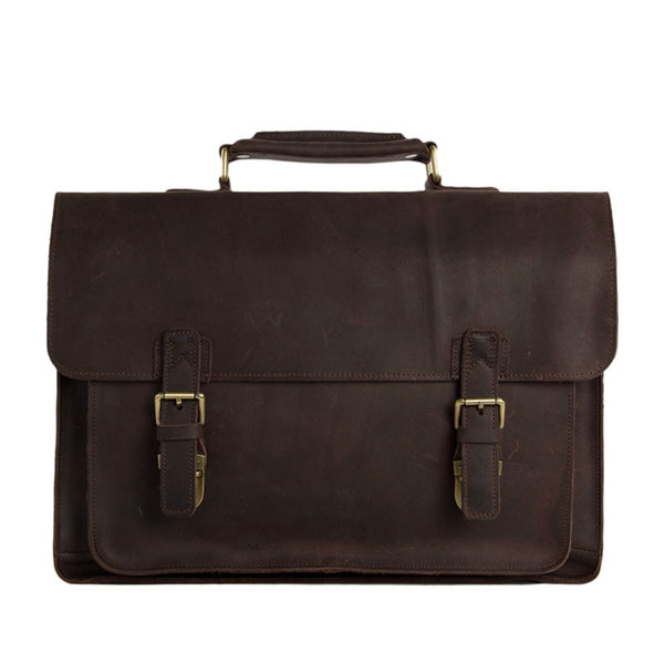 Vintage Dark Espresso Leather Briefcase for Men, Leather Messenger Bags - ROCKCOWLEATHERSTUDIO