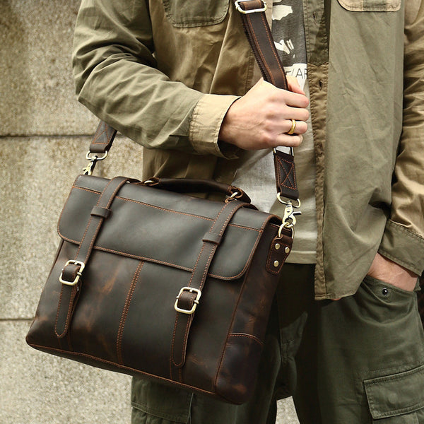 ROCKCOW Crazy Horse Leather Briefcase Messenger Bag Laptop Bag For Men 8657 - ROCKCOWLEATHERSTUDIO