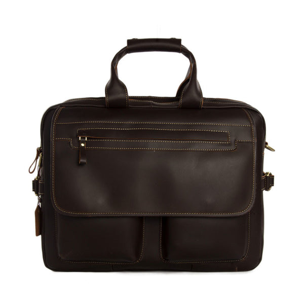 Handmade Genuine Cow Leather Briefcase / 15''  Laptop Bag / Men's Handbag 8951 - ROCKCOWLEATHERSTUDIO