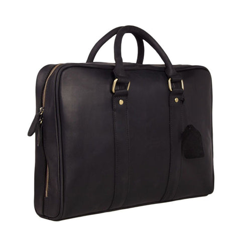 Black Genuine Leather Briefcase, Messenger Bag, Laptop Bag, Men's Handbag D007