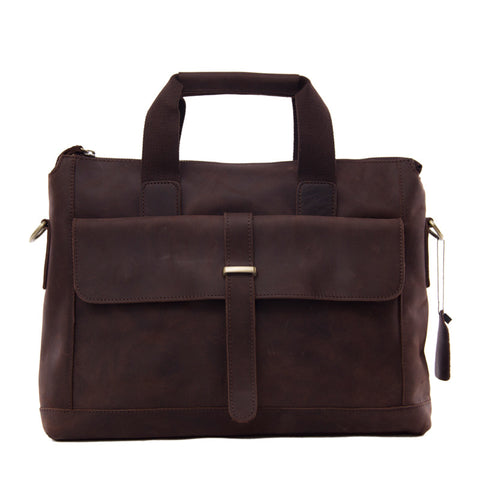 Antique Style Genuine Leather Mens Briefcase Messenger Bag Laptop Shoulder Bag 9075 - ROCKCOWLEATHERSTUDIO