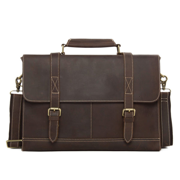 Business Men's Handmade Leather Briefcase Messenger bag 14 Inch Laptop Crossobdy Shoulder Bag 6938 - ROCKCOWLEATHERSTUDIO