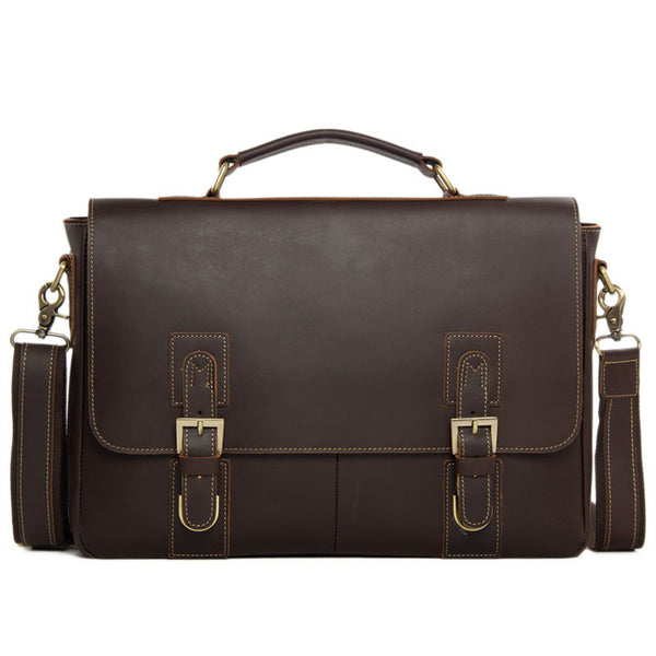 Genuine Leather Men's Briefcase Laptop Handbag Messenger Bag For Men 8069 - ROCKCOWLEATHERSTUDIO