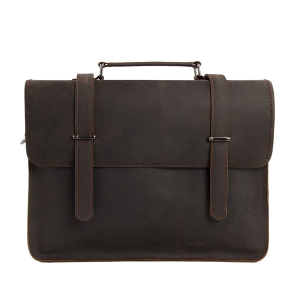 Vintage Crazy Horse Leather Briefcase Men Messenger Bag Laptop Bag 6148 - ROCKCOWLEATHERSTUDIO