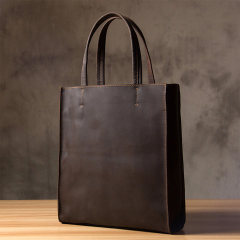 Handmade Crazy Horse Leather Tote Bag, Shopping Bag, Leather Shoulder Bag For Women 0669 - ROCKCOWLEATHERSTUDIO