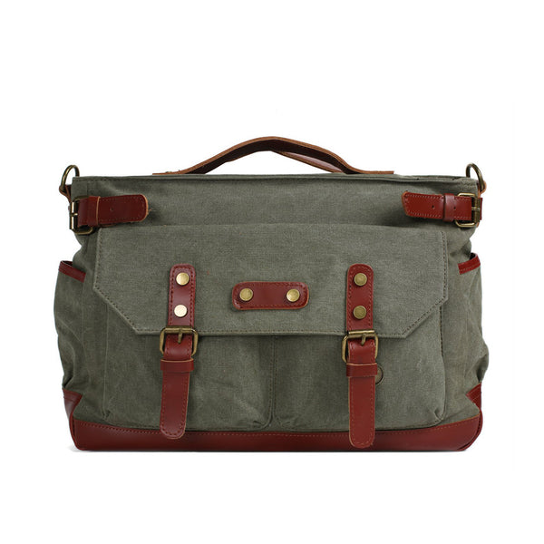 Canvas Leather Briefcase Messenger Bag, Waxed Canvas Laptop Bag Travel Briefcase 1859 - ROCKCOWLEATHERSTUDIO