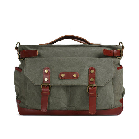 Canvas Leather Briefcase Messenger Bag, Waxed Canvas Laptop Bag Travel Briefcase 1859
