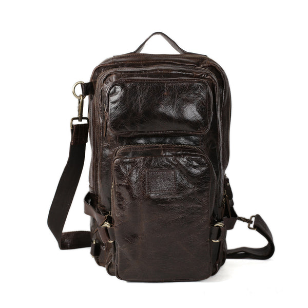 ROCKCOW Large Capacity Real Leather Men's Brown Backpack for Travelling 7048 - ROCKCOWLEATHERSTUDIO