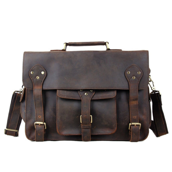Men Briefcases Laptop Bag Vintage Style Cross Body Messenger Bag Cowhide Leather New Arrival 7200 - ROCKCOWLEATHERSTUDIO