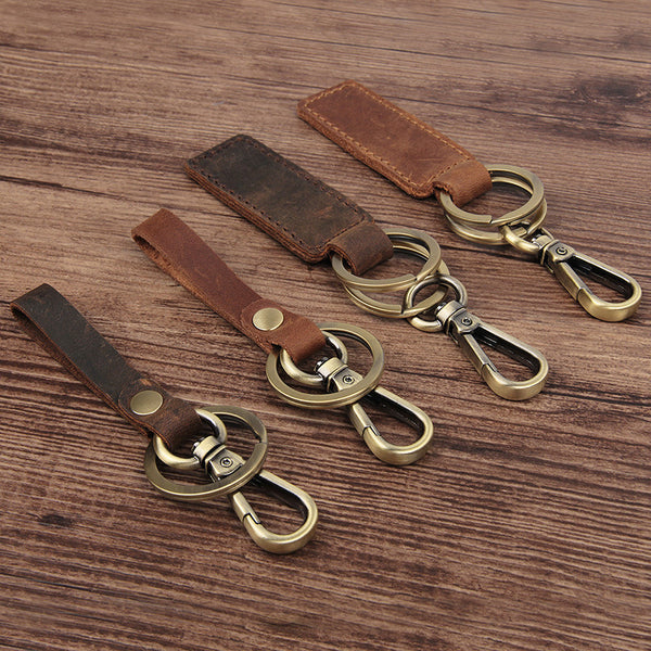 Rockcow Full Grain Leather Key Chain Personalized Key Ring